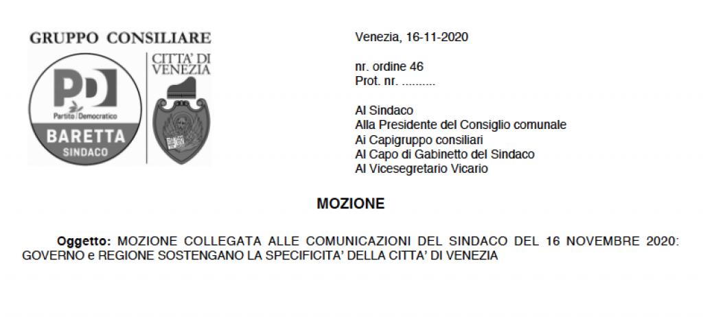 MOZIONE COLLEGATA ALLE COMUNICAZIONI DEL SINDACO DEL 16 NOVEMBRE 2020: GOVERNO e REGIONE SOSTENGANO LA SPECIFICITA' DELLA CITTA' DI VENEZIA